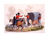 Uniform of an Officer, Private and Driver of the Royal Wagon Train, from 'Costume of the British… Giclee Print by Charles Hamilton Smith