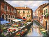 Flower Market on the Canal Posters by Sung Kim
