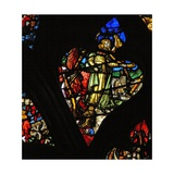 The West Rose Window Depicting a Scene from the Book of Revelation: Second Trumpet; a Burning… Giclée-Druck