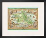 Oahu, The Gathering Place, Vintage Map of Oahu, Hawaii Prints by Dave Stevenson