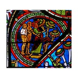 Window W15 Depicting the Good Samaritan Window: God Points Out the Forbidden Fruit to Adam and Eve Giclée-Druck
