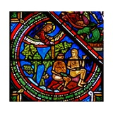 Window W15 Depicting the Good Samaritan Window: Adam and Eve Cover their Nakedness Giclée-Druck
