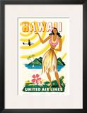 United Air Lines: Hawaii - Only Hours Away, c.1950s Posters