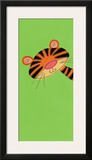 Tiger on Green Print by Lesley Hallas