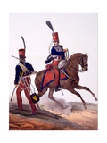 Uniforms of the 5th Hussars Regiment, from 'Collection Des Uniforms De L'Armee Francaise',… Giclee Print by Charles Aubry