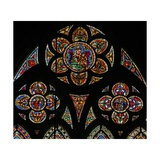 Window W207 Depicting the Tracery Lights with Two Angels and the Virgin and Child Giclee Print