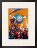 Pan American: Round the World by Clipper, c.1949 Print by M. Von Arenburg