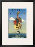 Scandinavian Airlines Chile, Gaucho Guitar, c.1951 Posters by  De Ambrogio
