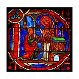 Window W1 Depicting a Scene from the Theophilus Story: He Prays before a Statue of the Virgin Who… Giclee Print