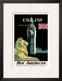 Pan American Airlines (PAA) - England And All Of Europe- Big Ben and British Flag Art by A. Amspoker