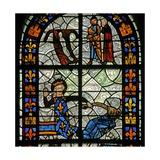 Window N1 Depicting Saint Radegonde: Anderedus's Child Is Healed by Lying on Ste Radegonde's Hair… Giclée-Druck