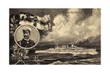 Künstler Ak Deutschland Voran, Kriegsschiff, Kaiser Wilhelm II, Patriotik Photographic Print by  German photographer