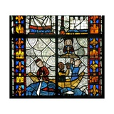 Window N1 Depicting Saint Radegonde: Floreius' Boat Is Saved from Being Wrecked by the… Giclée-Druck