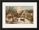 American Homestead Winter Art by  Currier & Ives