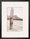 Duke Kahanamoku with Surfboard, Hawaii, c.1930 Prints