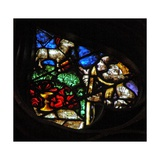 The West Rose Window Depicting a Scene from the Book of Revelation: Lamb on Mount Sion with Two… Giclée-Druck