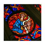 Window W141 Depicting a Musician Angel with a Harp Giclee Print