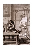 An Artist's Apprentice Cleaning an Engraving Plate, from 'Recueil De Figures...', 1737 Giclee Print by Abraham Bosse