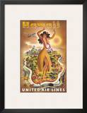 Hawaii, United Air Lines, Hula Dancer Posters