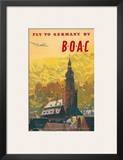 British Overseas Airways Corporation: Fly to Germany by BOAC, c.1950s Posters by Frank Wootton