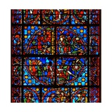 Window W10 Depicting Typological Old Testament Scenes: the Spies and the Grapes; David and the… Giclee Print