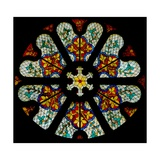 A North Rose Window with Patterned Modern Glass Giclee Print