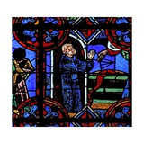 Window W06 Depicting the Mircle of the Full Wine Barrel at the Foundation of St Julien's Abbey Giclee Print