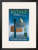 Pan American: Rome by Clipper - Vatican and Coliseum, c.1951 Posters
