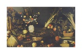Still Life of Flowers, Fruit and Vegetables, C.1594 Giclée-tryk af Caravaggio