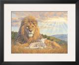 Lion and Lamb Poster by Lucie Bilodeau