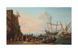A Mediterranean Harbour with Stevedores Unloading their Ships, Figures Selling Fish in the… Giclee Print by Adrien Manglard