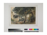 A Lane Scene with Houses and a Figure, C.1838 Giclee Print by Peter De Wint
