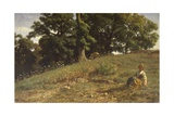 Meadow with Oak and Peasant Giclee Print by Filippo Palizzi