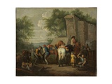A Military Blacksmith Shoeing Horses by a Ruin Giclée-Druck von Pieter van Bloemen