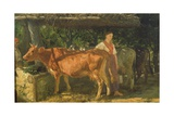 Three Cows Feeding, 1860 Giclee Print by Filippo Palizzi