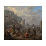 A Mediterranean Port with an Elegant Couple and Travellers Resting by the Quay Giclee Print by Johannes Lingelbach