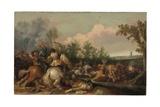 A Cavalry Skirmish Giclee Print by Jan Asselijn
