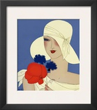 Art Deco Lady with a Large Red Flower Poster