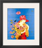 Art Deco Lady with Flowers Prints