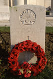 Headstone of an Australian Soldier with Poppy Wreath, at the British Ww1 Mass Cemetery at Tyne… Photographic Print