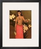 Banana Girl, Royal Hawaiian Hotel Menu, c.1950 Framed Giclee Print by John Kelly