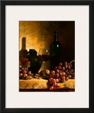 Wine Bottle, Grapes and Walnuts Prints by Loran Speck