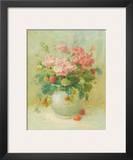 Pink Geraniums with Strawberries Prints by Danhui Nai