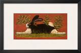 Red Folk Bunny Poster by Lisa Hilliker
