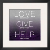 Love, Give, Help (purple) Posters