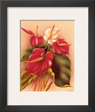 Hawaiian Red and White Anthuriums c.1940s Posters by Frank Oda
