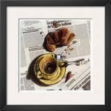 Cafe et Croissant Print by Lionel Chiche-portiche