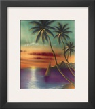 Diamond Head Sunset, Oahu, Hawaii, USA Art by  Mokihana