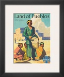 Santa Fe Railroad, Land of Pueblos, Native American Indians, New Mexico, 1950s Prints