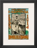 Mid Pacific Carnival 1914, Honolulu, Hawaii, Featuring Duke Kahanamoku Print